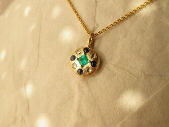 K18 Emerald・Rose cut Diamond 2way  Pendantの画像