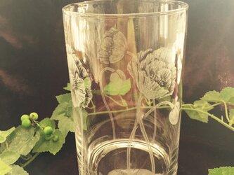 ポピーの花瓶  〜手彫りガラス〜の画像