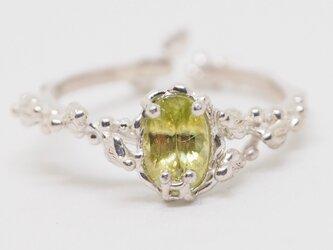 春色緑 スフェーンのリング フリーサイズ P163の画像