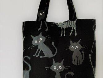 猫ちゃんのカジュアルトート    黒色(シンプルサイズ)の画像