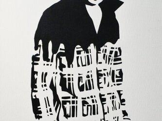 チェックシャツの男性 F6サイズ絵画の画像