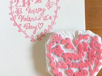 バレンタインのハートモチーフ消しゴムはんこの画像