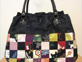 和柄 市松模様 合皮持ち手のミニトートバッグの画像