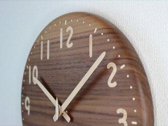 象嵌ブラックウォールナットの時計 直径30㎝ 受注製作の画像
