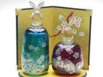 うさぎ雛 桜 (青緑・赤)の画像