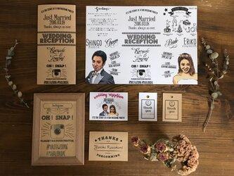 結婚式似顔絵【席次表&席札セット】シルエット風 三つ折セットの画像