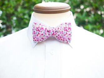 TATAN ピンクの小花柄蝶ネクタイの画像