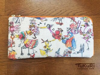 いろとり鳥の長財布 ファスナーオレンジorピンクの画像