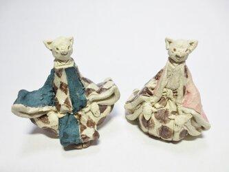 ちびねこ雛人形 -紺×ピンク-の画像