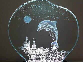 星降る夜・イルカ・プラハ ガラスエッチングパネル Mサイズ・LEDスタンドセット(ランプ・ライト・照明)の画像