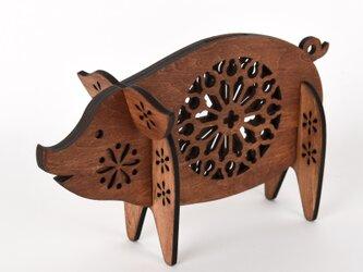 ブタの貯金箱(木製バンク) の画像
