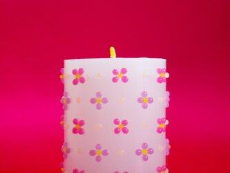 細工花柄ろうそく(M)ピンク・紫の画像