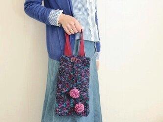長財布と通帳のためのバッグ(弾むポンポン)の画像