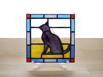 ステンドグラスパネル 猫 Mサイズの画像
