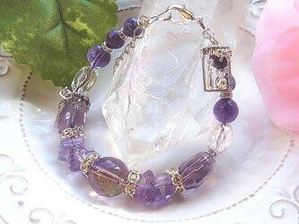 ボリビア産アメトリン&アメジスト&チャロアイトの宝石ブレスの画像