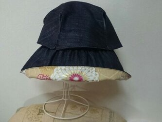 sold out 飛ばない帽子 デニム×菊柄の画像