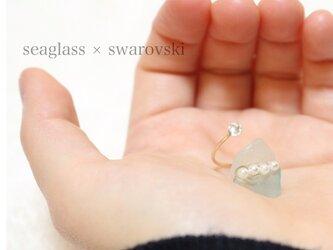 seaglass × swarovski ring♡の画像