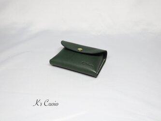 ヌメ革 手のひらサイズのカードケース(グリーン色)の画像