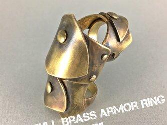 Full Brass Armor Ring//3連盾モチーフ・真鍮製の画像
