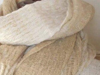 【ホームスパン】草木染 大判 ふっくらあったか手織りマフラーストール 139の画像