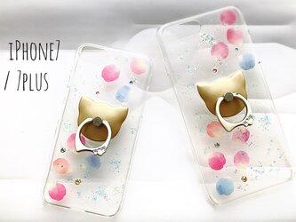 iPhone7/6/6s〈花猫*シンプル〉スマホケース スマホリング付き iPhoneケースの画像