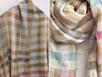 ❐手織り/myバスケット/植物染料ストール/極細ウール・カシミヤ・木綿交織の画像