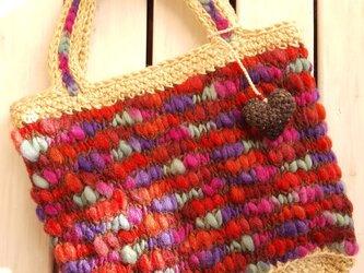 モコモコ ウール&手染めヘンプバッグ 【MB10001】の画像