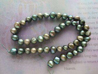 *♥*Freshwater Pearls Metalic Forest Green*♥*の画像