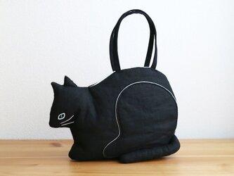 【受注制作】『 ko-bako / black 』 香箱座りの猫鞄の画像