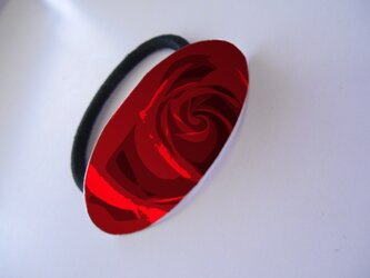 アートヘアゴム(楕円) バラ【送料無料】の画像