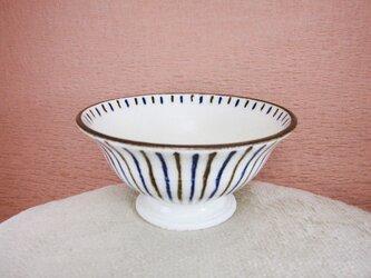 陶器ご飯茶碗(中)十草模様(青・茶)の画像