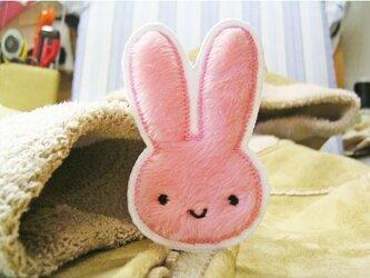 ★ふさふさうさぎ★アップリケワッペン★ピンクの画像