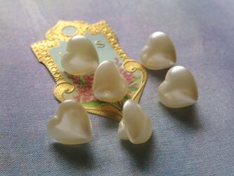 *♥*Japanese Vintage Glass Pearl Buttons Ivory Heart*♥*の画像