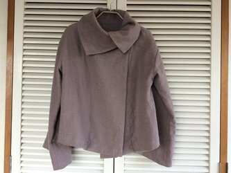 受注制作:あずきミルク色の起毛リネンで作ったキンバリージャケットの画像