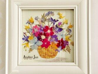 花かご(10×10)ホワイト額付きの画像