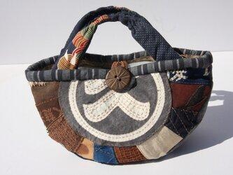 古布、酒袋、前掛け、刺し子、柿渋染めのバッグの画像