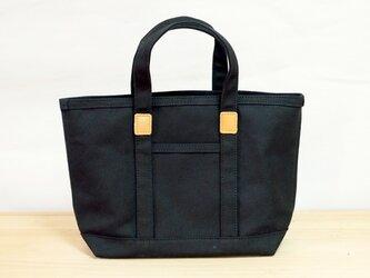 革と帆布のトートバッグS ブラック ※受注生産の画像