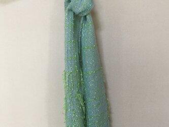 手織りのストール  (若葉)の画像