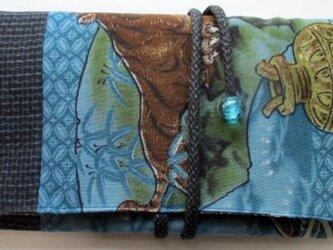 着物リメイク 藍大島とモスの長襦袢で作った和風財布 2151の画像