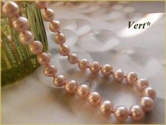 【Vermeil】ピンクゴールドポテト淡水パールグリフィンショートネックレスの画像