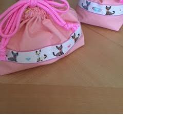 お弁当袋・コップ入れのセット*クロスステッチ刺繍★猫の画像