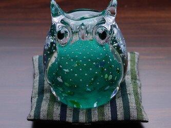 ふくろう(遠州織物の座布団付き)緑の画像