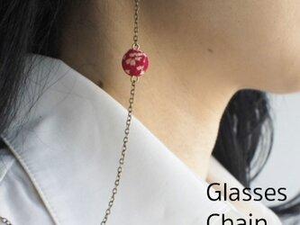 一粒 和玉の眼鏡チェーン 赤の画像