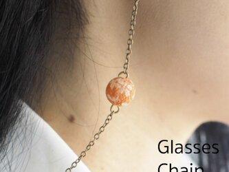 一粒 和玉の眼鏡チェーン  オレンジの画像