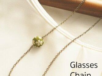 一粒 和玉の眼鏡チェーン  グリーンの画像