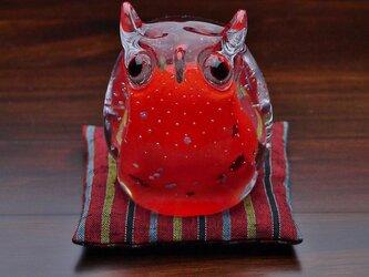 ふくろう(遠州織物の座布団付き)紫の画像