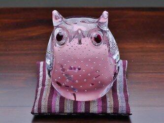 ふくろう(遠州織物の座布団付き)ピンクの画像