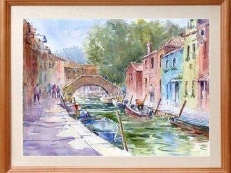 水彩画原画 ヴェネツィア・ブラーノ島の画像