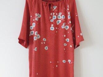 赤系正絹着物チュニックワンピースの画像