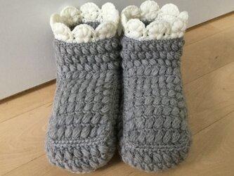 ぽこぽこ玉編みのルームブーツ(グレー)の画像